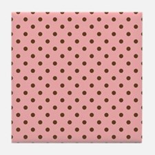 Pink with Brown Dots Tile Coaster
