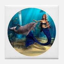 Mermaid and Dolphin Tile Coaster