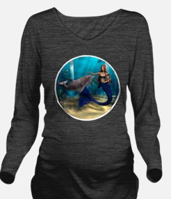 Mermaid and Dolphin Long Sleeve Maternity T-Shirt