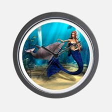 Mermaid and Dolphin Wall Clock