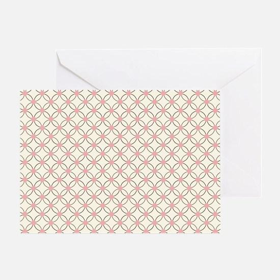 Brown Circles  Pink Dots 2 Greeting Card
