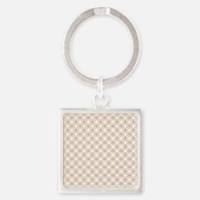 Brown Circles  Pink Dots 2 Square Keychain