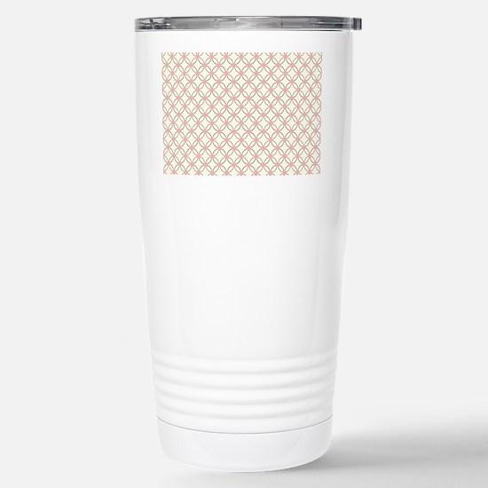 Brown Circles  Pink Dot Stainless Steel Travel Mug