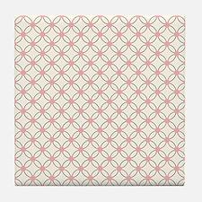 Brown Circles  Pink Dots 2 Tile Coaster