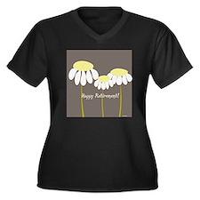 happy retire Women's Plus Size Dark V-Neck T-Shirt