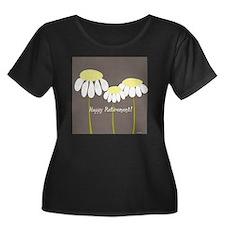 happy re Women's Plus Size Dark Scoop Neck T-Shirt