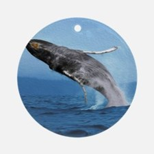Humpback Whale Leap Round Ornament