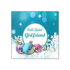 """Worlds Greatest Girlfriend Square Sticker 3"""" x 3"""""""