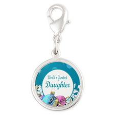Worlds Greatest Daughter Silver Round Charm