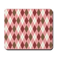 Pink and Brown Argyle Pattern 6 Mousepad