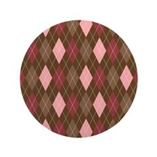 "Pink and Brown Argyle Pattern 5 3.5"" Button"