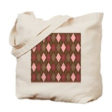 Pink and Brown Argyle Pattern 5 Tote Bag
