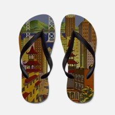 Vintage San Francisco Travel Flip Flops
