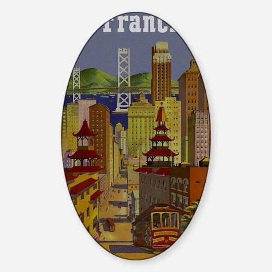 Vintage San Francisco Travel Sticker (Oval)