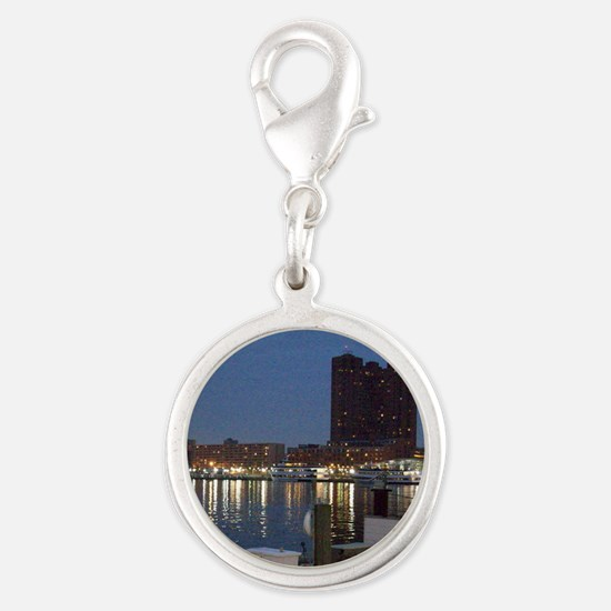 INNER HARBOR IN BALTIMORE Silver Round Charm
