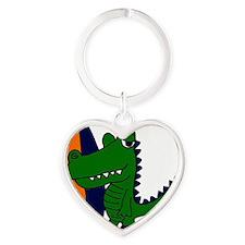 Alligator with Surfboard Heart Keychain