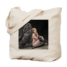 Girl and Gorilla for picture Tote Bag