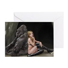 Girl and Gorilla for picture Greeting Card
