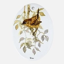 Wren Peter Bere Design Oval Ornament