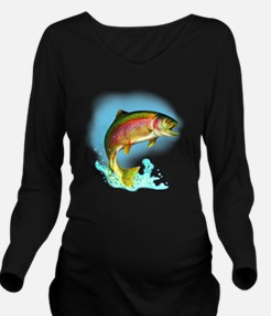 Jumping Rainbow Trou Long Sleeve Maternity T-Shirt