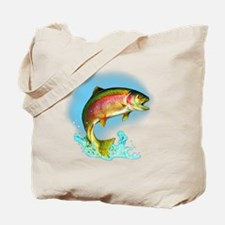 Jumping Rainbow Trout Tote Bag