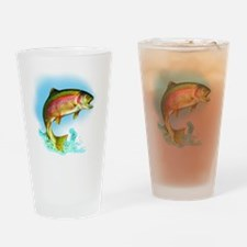 Jumping Rainbow Trout Drinking Glass