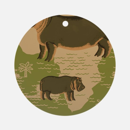 Brookfield Zoo Vintage Poster Hippo Round Ornament