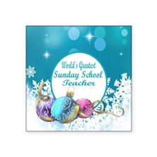 "Worlds Greatest Sunday Scho Square Sticker 3"" x 3"""