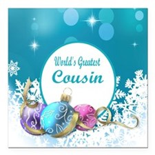 "Worlds Greatest Cousin Square Car Magnet 3"" x 3"""