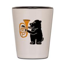 Black Bear Playing Tuba Shot Glass