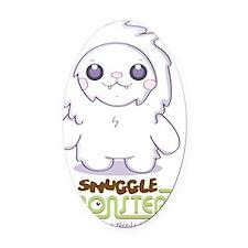 Cute Abominable Snowman Oval Car Magnet