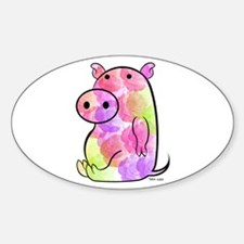 ROSEY PIG Oval Decal