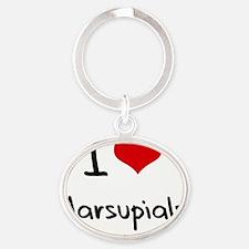 I Love Marsupials Oval Keychain