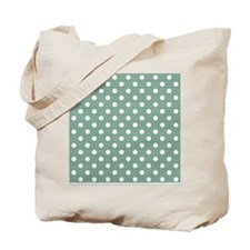 green with white dots and green border 2 Tote Bag