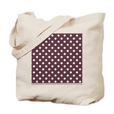 dark red with white dots and red border Tote Bag