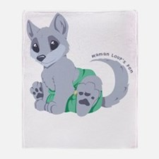 My cub wears cloth 2 (white) Throw Blanket