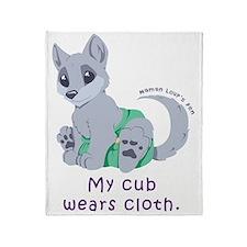 My cub wears cloth 2 (purple) Throw Blanket