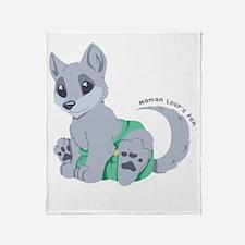 This cub wears cloth 1 (white) Throw Blanket
