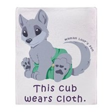 This cub wears cloth 2 (purple) Throw Blanket