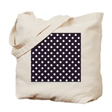 dark purple with white dots and green bor Tote Bag