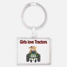 Girls love Tractors Landscape Keychain