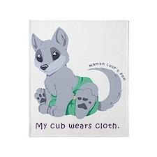 My cub wears cloth 1 (purple) Throw Blanket