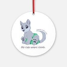 My cub wears cloth 1 (purple) Round Ornament