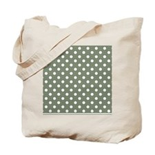 green with white dots and green border Tote Bag