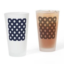 blue with big white dots Drinking Glass