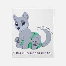 This cub wears cloth 1 (purple) Throw Blanket