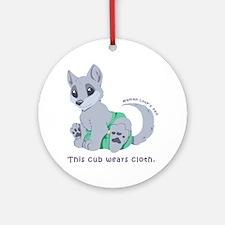 This cub wears cloth 1 (purple) Round Ornament