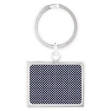 dark blue with white dots 2 Landscape Keychain