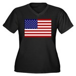 Stars and stripes  Women's Plus Size V-Neck Dark T