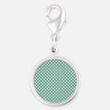 green with little white dots 2 Silver Round Charm